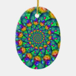 Rainbow Turquoise Bokeh Fractal Christmas Ornament