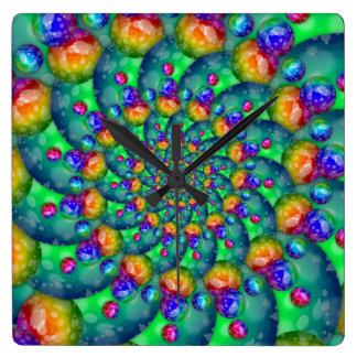 Rainbow Turquoise Bokeh Fractal Square Wall Clock
