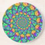 Rainbow Turquoise Bokeh Fractal Coaster