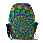 Rainbow Turquoise Bokeh Fractal Courier Bag