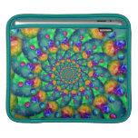 Rainbow Turquoise Bokeh Fractal iPad Sleeve