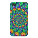 Rainbow Turquoise Bokeh Fractal Covers For iPhone 4
