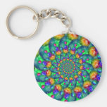 Rainbow Turquoise Bokeh Fractal Key Chains