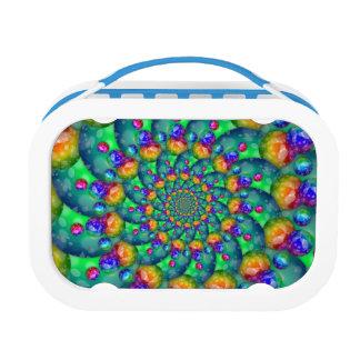 Rainbow Turquoise Bokeh Fractal Lunch Box