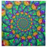 Rainbow Turquoise Bokeh Fractal Napkin