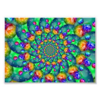 Rainbow Turquoise Bokeh Fractal Photo Art