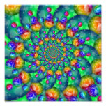 Rainbow Turquoise Bokeh Fractal Photographic Print