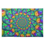 Rainbow Turquoise Bokeh Fractal Placemats