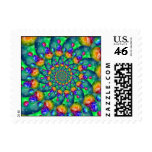 Rainbow Turquoise Bokeh Fractal Postage Stamps