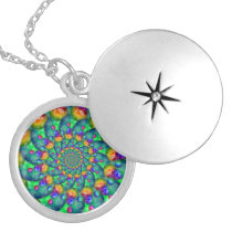 Rainbow Turquoise Bokeh Fractal Silver Plated Necklace