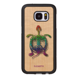 Rainbow Turtle Funny Fossil With Your Name Wood Samsung Galaxy S7 Case