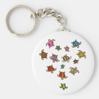 Rainbow Turtle Heart Keychain