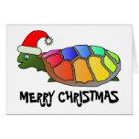 Rainbow Turtle with Santa Hat Card