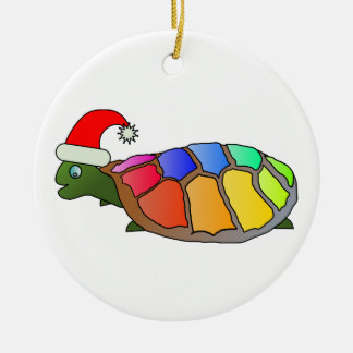 Rainbow Turtle with Santa Hat Double-Sided Ceramic Round Christmas Ornament