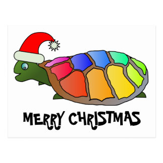 Rainbow Turtle with Santa Hat Postcard