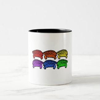 Rainbow Turtles Two-Tone Coffee Mug
