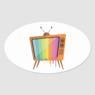 Rainbow TV Oval Sticker