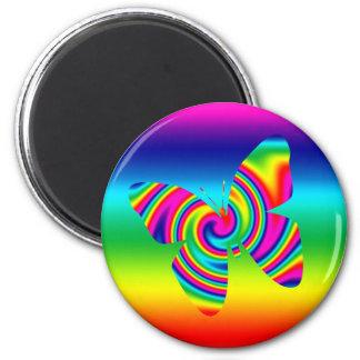 Rainbow Twirl Butterfly 2 Inch Round Magnet