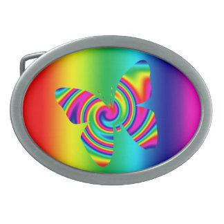Rainbow Twirl Butterfly Oval Belt Buckle