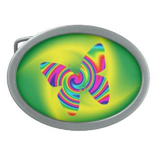 Rainbow Twirl Butterfly Belt Buckles