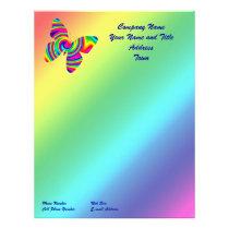 Rainbow Twirl Butterfly Letterhead