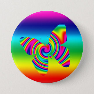 Rainbow Twirl Butterfly Pinback Button