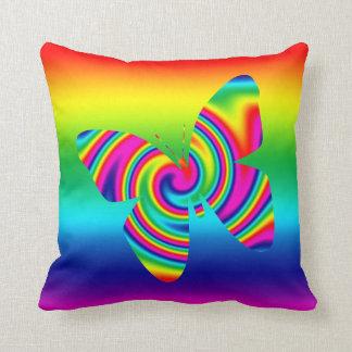 Rainbow Twirl Butterfly Throw Pillow