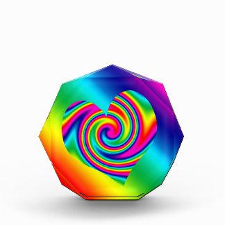 Rainbow Twirl Heart Acrylic Award