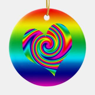 Rainbow Twirl Heart Ceramic Ornament