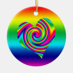 Rainbow Twirl Heart Double-Sided Ceramic Round Christmas Ornament
