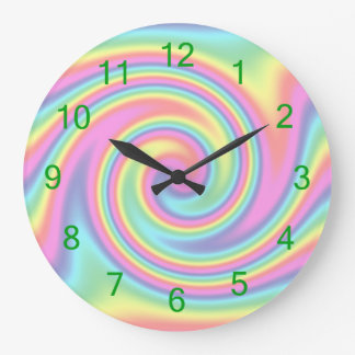 Rainbow Twirl Large Clock