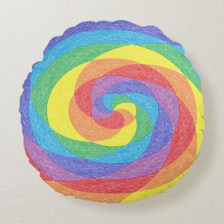 Rainbow Twirl Round Throw Pillow Round Pillow