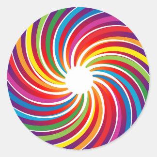 Rainbow Twirl Classic Round Sticker