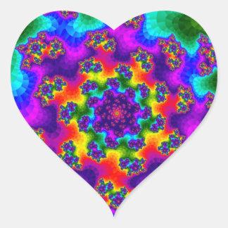 Rainbow Tye-Dye Floral Sprinkles Heart Stickers
