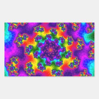 Rainbow Tye-Dye Floral Sprinkles Rectangle Sticker