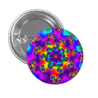 Rainbow Tye-Dye Floral Sprinkles Round Button