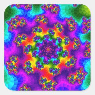 Rainbow Tye-Dye Floral Sprinkles Square Stickers