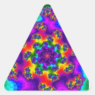 Rainbow Tye-Dye Floral Sprinkles Triangle Stickers