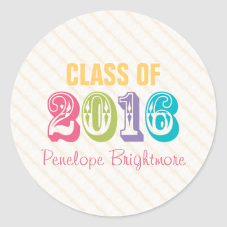 Rainbow Typography Class of 2016 Classic Round Sticker