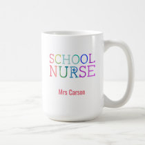 Rainbow Typography School Nurse Personalized Coffee Mug