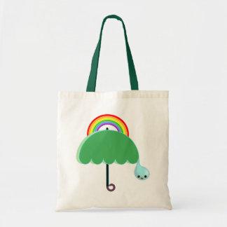 rainbow umbrella drop rain budget tote bag