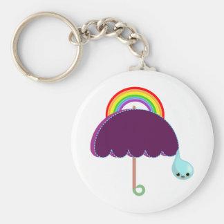 rainbow umbrella drop rain key chain
