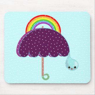 rainbow umbrella drop rain mousepads