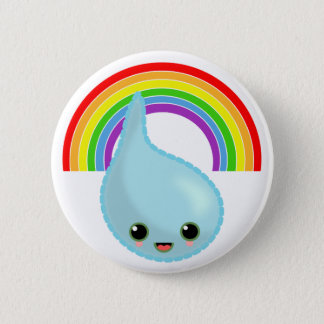 rainbow umbrella drop rain pinback button