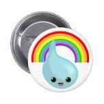 rainbow umbrella drop rain pinback buttons