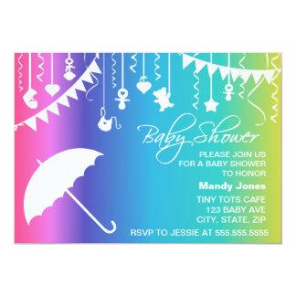 Rainbow umbrella modern baby shower invitations