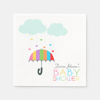 Rainbow Umbrella Neutral Baby Shower Paper Napkin