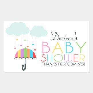 Rainbow Umbrella Neutral Baby Shower Rectangular Sticker