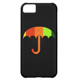 Rainbow Umbrella on Black Background iPhone 5C Covers
