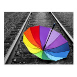 Rainbow Umbrella On Train Tracks Postcard
